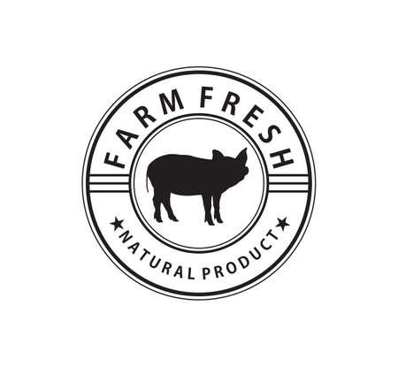 Vers varkensvlees slagerij vector merk label identiteit ontwerpsjabloon
