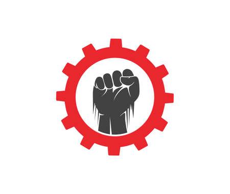 hand fist inside a gear vector   design template Illustration