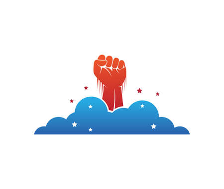hand fist rising through the cloud vector  design template Illustration