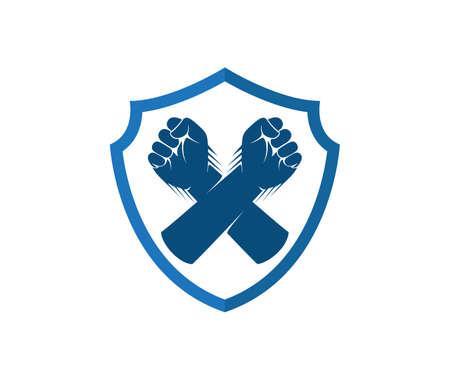 hand fist cross inside shield vector  design template