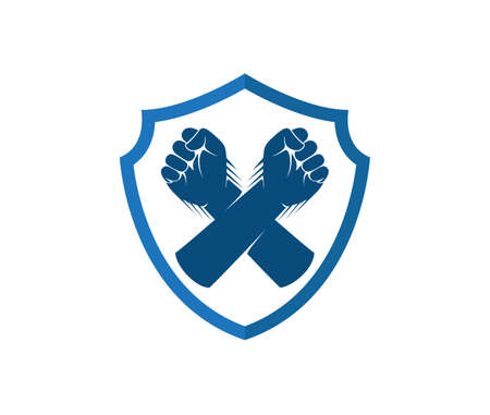 hand fist cross inside shield vector  design template