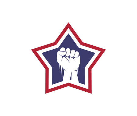 hand fist inside the star vector   design template