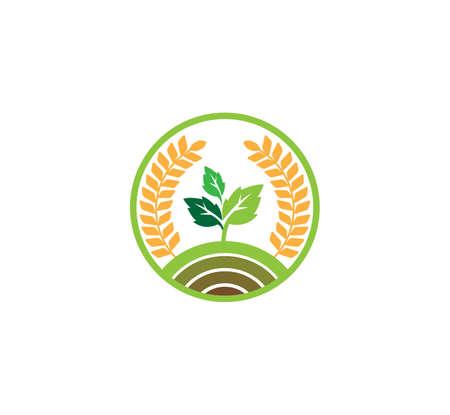 plantilla de diseño de concepto de logotipo de vector o icono para tecnología agrícola, negocios agrícolas, educación, proceso de tierra de suelo de campo, granja de cultivo Logos
