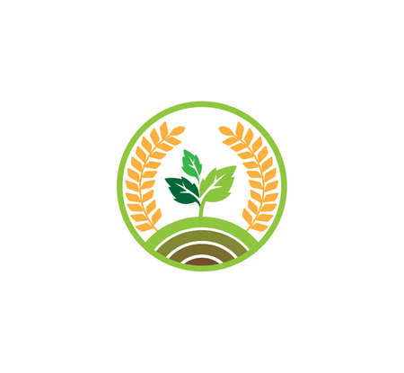 vector or icon logo concept design template for agriculture technology, agriculture business, education, field soil land process, crop farm Logo
