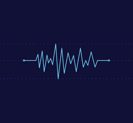 heart beat pulse line graphic vector illustration top and bottom limit line in dark blue background