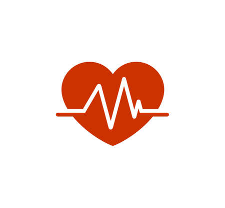 heart beat pulse line graphic inside a heart shape vector illustration in red color
