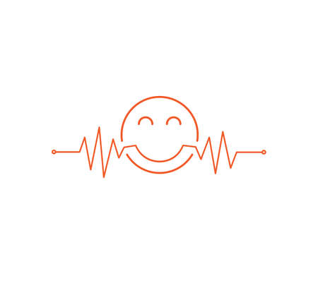 heart beat pulse line graphic vector illustration with a happy emoticon in it