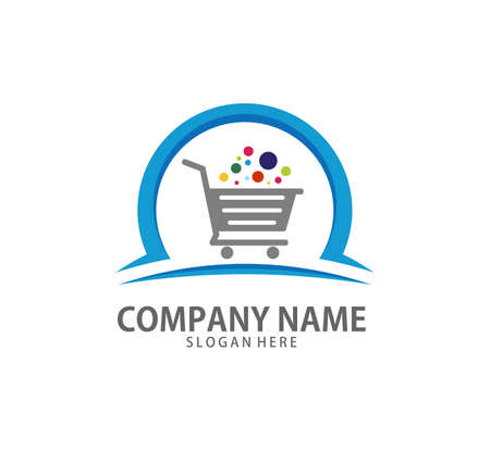 shopping cart trolley with colorful bubble in it vector icon design template