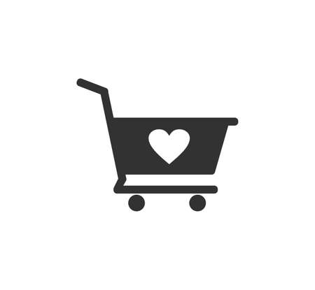 shopping cart or trolley with heart shape sign vector icon design template