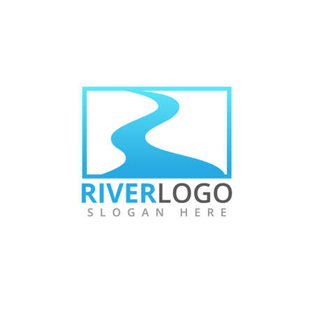 abstract river stream flowing shape vector logo design template