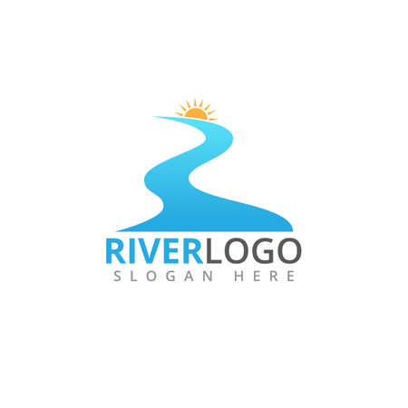 abstract river flowing shape with sun in the peak vector logo design template