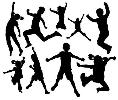 aufregende Leidenschaft springen Kinder Silhouette Vektor-Illustration Logo Design-Vorlage