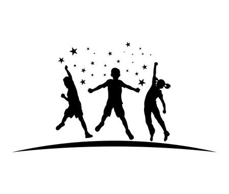 exciting passion jumping kids silhouette vector illustration logo design template