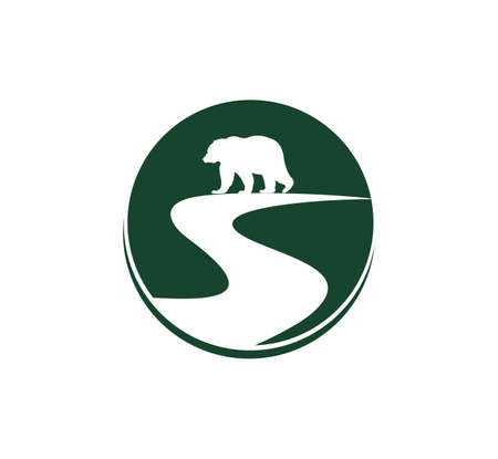 simple silhouette of animal bear on park land with river vector illustration logo design Vectores