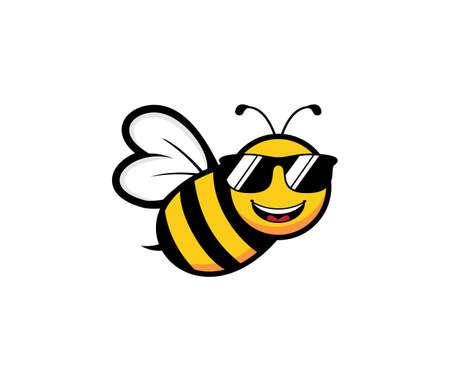 niedliche Honigbiene Maskottchen Charakter Vektor Logo Design Vorlage Inspiration für Honig Produktmarke