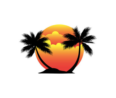sunset beach island with coconut tree vector logo design illustration inspiration for brand tourism tour and travel Stock Illustratie