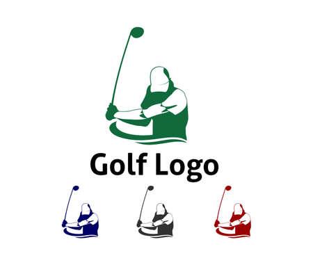 inspiración de diseño de logotipo de vector de deporte al aire libre de golf, un jugador golpea la pelota con un palo de swing para la marca y la presentación visual Logos