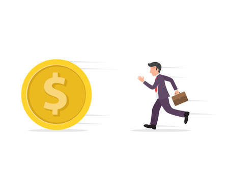 illustration of a businessman or debt collector running or chasing a coin or money symbol