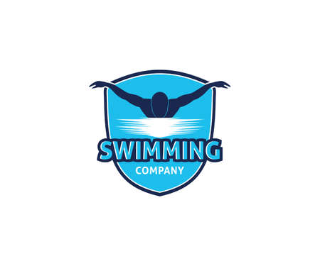 ispirazione per il design del logo vettoriale dello sport acquatico di nuoto per la scuola di formazione, il club e il campionato Logo