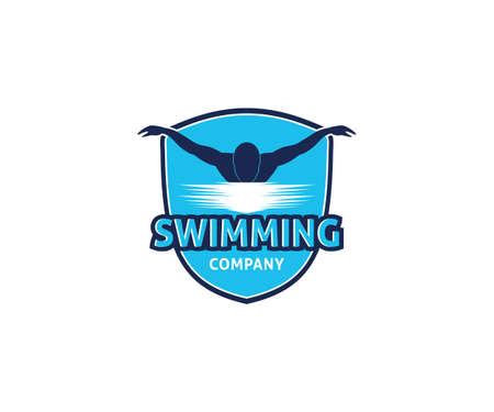 natación, deporte acuático, vector, logotipo, diseño, inspiración, para, entrenamiento, escuela, club, y, campeonato Logos