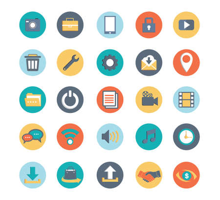 multimedia and office standard icon set vector for web design and application