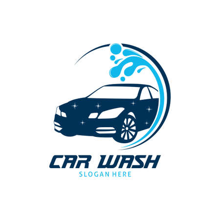 car wash service vector logo design template inspiration or illustration
