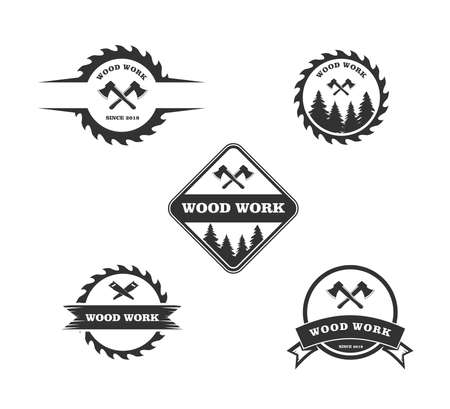 wood working lodge carpenter factory vector logo design template Çizim
