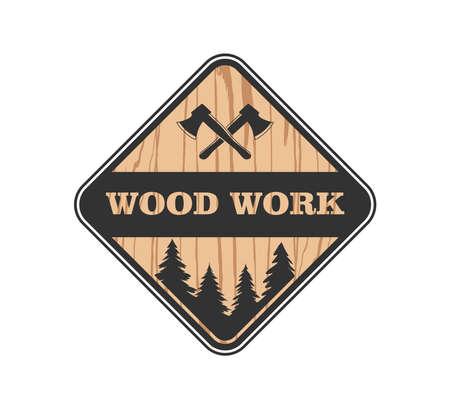 Wood Working Lodge Carpenter Factory Vector Logo Design Template