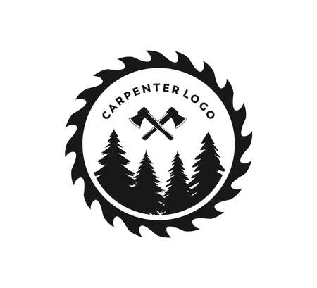 wood working lodge carpenter factory vector logo design template Illusztráció
