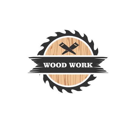 Drewniany domek stolarz fabryka wektor logo szablon projektu