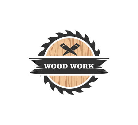 wood working lodge carpenter factory vector logo design template Vectores