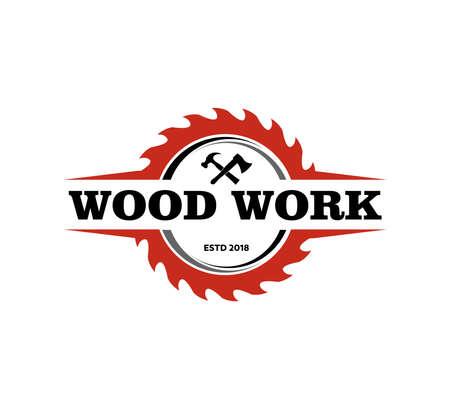 modèle de conception de logo vectoriel d'usine de menuiserie de lodge de travail du bois Logo
