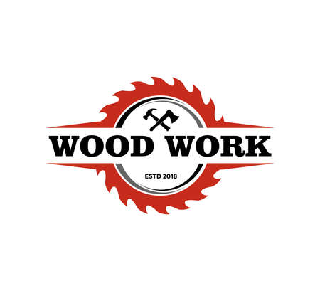 wood working lodge carpenter factory vector logo design template Illustration