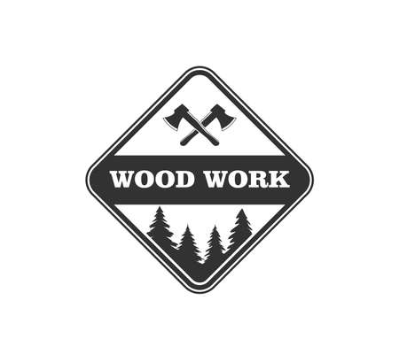 wood working lodge carpenter factory vector logo design template Stock Illustratie