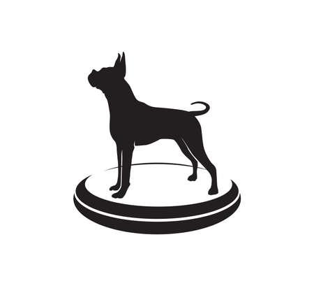 boxer dog star championship competition vector icon logo design template Illustration