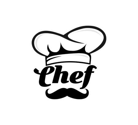chef hat with mustache food restaurant vector icon logo design template
