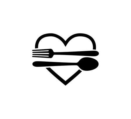 eten culinair met lepel en vork restaurant vector pictogram logo ontwerpsjabloon
