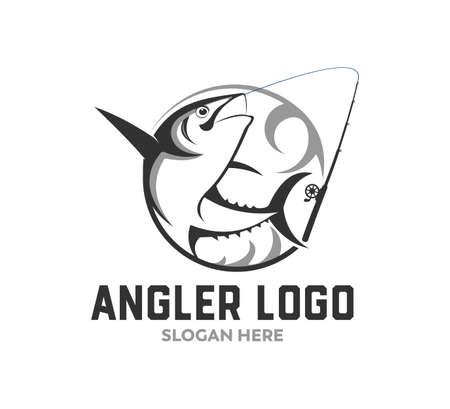 sport fishing or angler icon vector logo design template Illustration
