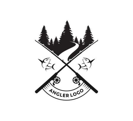 sport fishing or angler icon vector logo design template