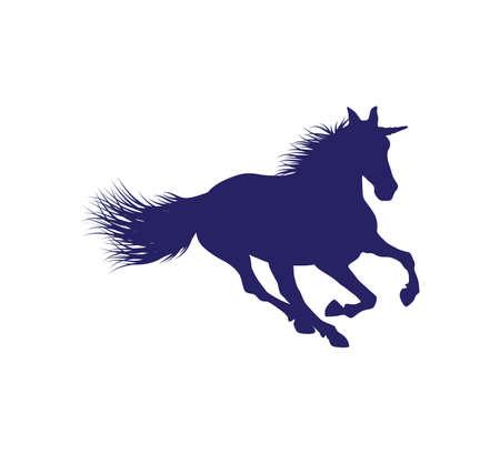 sagoma di cavallo unicorno con modello di disegno di illustrazione vettoriale di capelli dettagliati in sfondo bianco