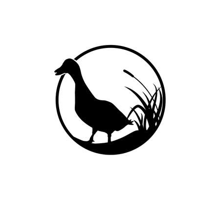 duck or goose with grass savannah vector logo illustration template