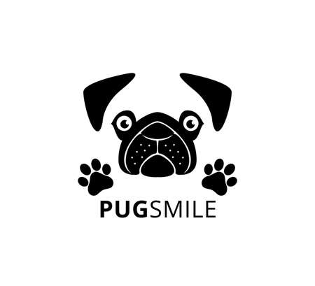 happy smile pug dog face with paw vector graphic design template