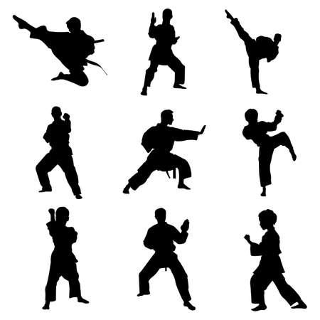 Karate artes marciales combate pose vector icono plantilla de diseño de logotipo