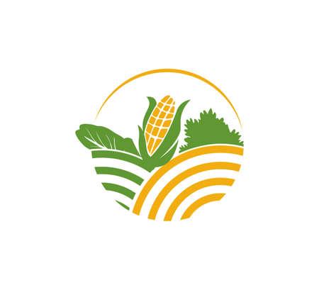 rolnictwo roślina organiczna ogrodnictwo pole warzywne wektor ikona logo szablon projektu