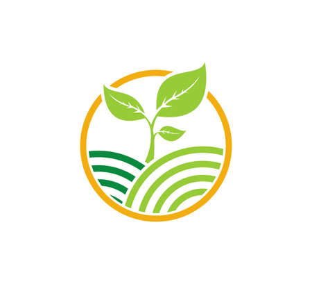 agriculture science technology organic plant vector icon logo design template