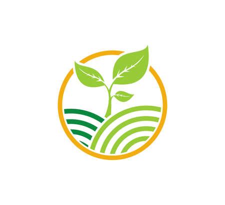 rolnictwo nauka technologia organiczna roślina wektor ikona logo szablon projektu