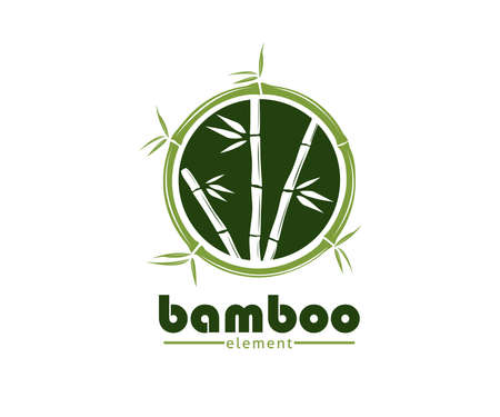 green bamboo branch and leaf vector icon logo design template Illustration