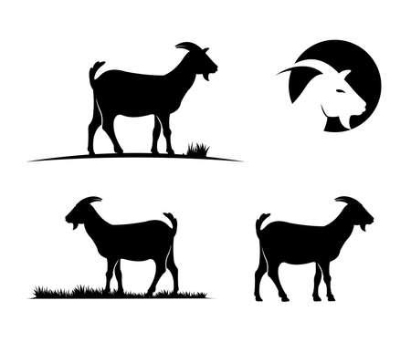 goat farm field vector icon logo design simple flat style template Illustration