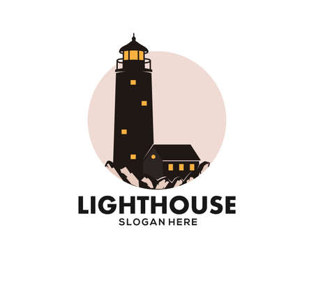 lighthouse stand in coral rock at the night with the keeper house vector icon logo design template Stock Illustratie