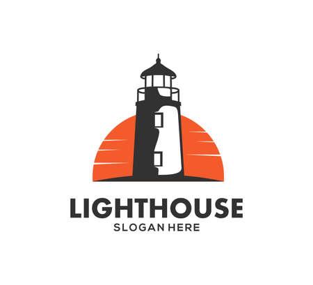 Faro en la plantilla de diseño de logotipo de icono de vector de noche Logos